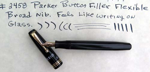 "PARKER BUTTON FILLER WITH FLEXILE NIB AND ""WEDDING CAKE"" JEWEL"