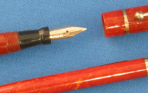 MABIE TODD CORAL FLAT TOP FOUNTAIN PEN / PENCIL SET