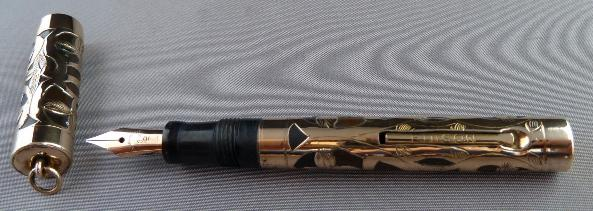 EDISON GOLD FILLED FILIGREE OVERLAY FOUNTAIN PEN