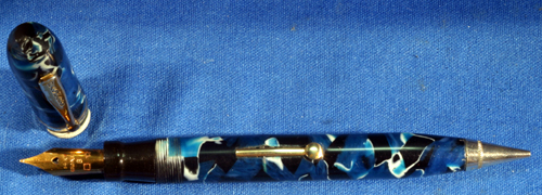 BLUE MARBLED FOUNTAIN PEN COMBO