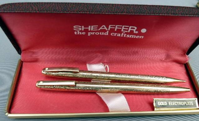 SHEAFFER GOLD ELECTROPLATED VINTAGE PATTERN BALLPOINT