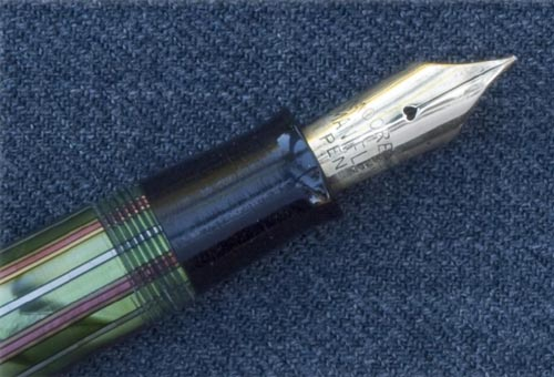MOORE MARBLED GREEN / RED / SILVER STRIPED PEN