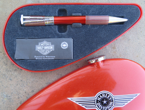 WATERMANS HARLEY DAVIDSON HORIZON BALLPOINT PEN IN ORANGE AND CHROME