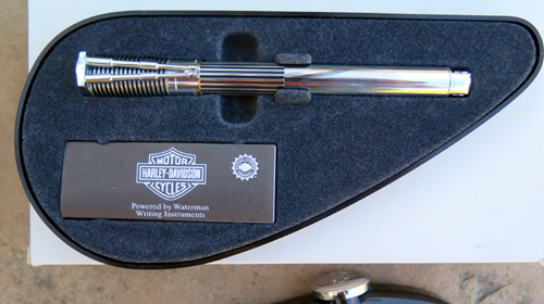 WATERMANS HARLEY DAVIDSON ROLLERBALL PEN IN BLACK AND CHROME