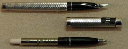 SHEAFFER NOS SILVER PLATED TARGA FOUNTAIN PEN AND ROLLING BALL