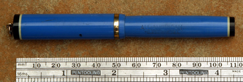 CONKLIN ALL AMERICAN BRIGHT BLUE RINGTOP FOUNTAIN PEN