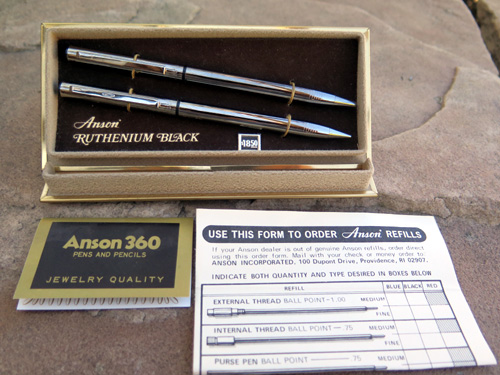 ANSON RUTHENIUM BLACK TWIST BALLPOINT & PENCIL SET.