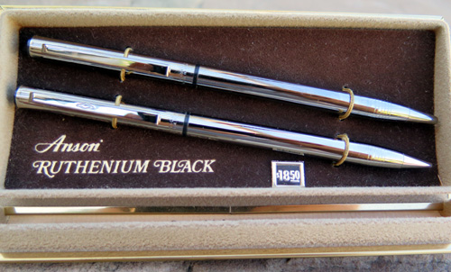 ANSON RUTHENIUM BLACK TWIST BALLPOINT PEN & PENCIL SET