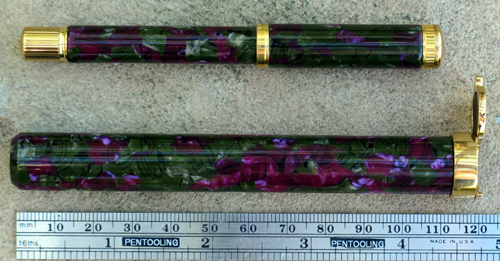 WATERMANs LADY AGATHE IN PURPLE and GREEN-GRREY MARBLE WITH MATCHING CARRYING CASE