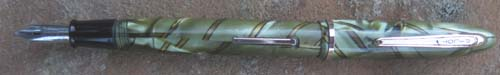 EARLY PILOT FOUNTAIN PEN WITH GREEN / MARBLE PATTERN AND A GOLD / BLACK RIBBON DESIGN RUNNING THROUGH IT