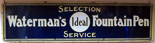 PORCELAIN WATERMAN'S FOUNTAIN PEN SERVICE / REPAIR SIGN