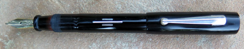 HILTON LONG ISLAND #KK3S BLACK CELLULOID PEN W/ WHITE GOLD FILLED INLAYS