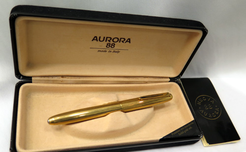 AURORA 88K FOUNTAIN PEN, GOLD FILLED BARREL and CAP