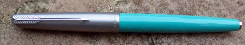 PARKER 61 CAPILLARY FILLER IN TURQUOISE WITH LUSTRALOY CAP. 14K ACCOUNTANT NIB