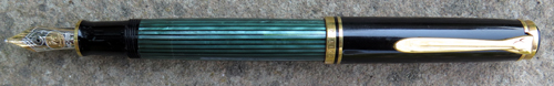 PELIKAN SOUVERAN M800 FOUNTAIN PEN IN GREEN STRIPED WITH BROAD 14C NIB