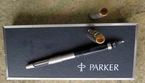 PARKER 75 STERLING CISELE FOUNTAIN PEN. Early production (ca. 1965-66) with flat top/flush tassies.