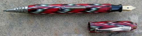 INDIAN COMBO FOUNTAIN PEN. Red / white / black blanket weave pattern