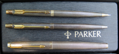 PARKER 75 CISELE STERLING SILVER TRIPLET SET IN BOX W/ PAPERS