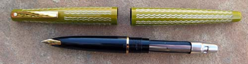 LADY SHEAFFER IN UNCOMMON IRRIDESCENT GREEN WITH ENGRAVED PATTERN