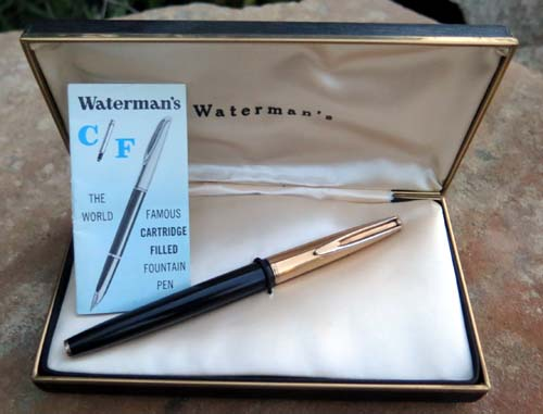 WATERMAN'S CF FOUNTAIN PEN, BLACK W/ GOLD FILLED TRIM AND INLAY ON SECTION