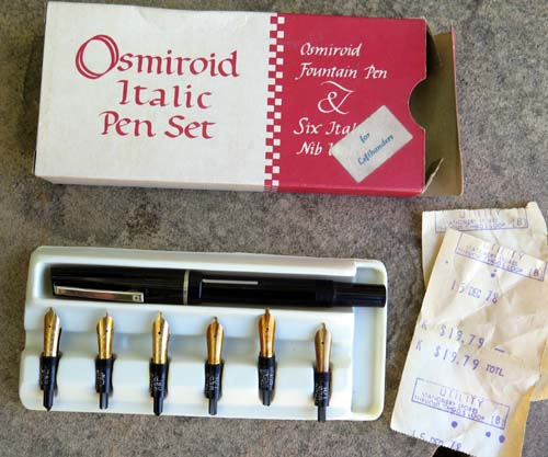 OSMIROID LEFT HANDED ITALIC PEN SET W/ 6 FRONT ENDS, (3) OBLIQUES