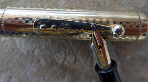 WATERMAN's 0552 WITH GOLD FILLED GOTHIC OVERLAY ON BLACK HARD RUBBER.
