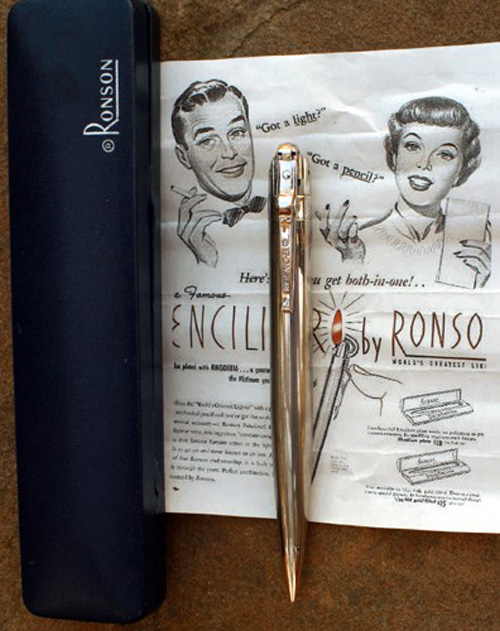 RONSON PENCILITER IN RHODIUM PLATING W/BOX and PAPERS