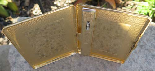 LEATHER COVERED GOLD PLATED CIGARETTE CASE. British made, Ca. 1963