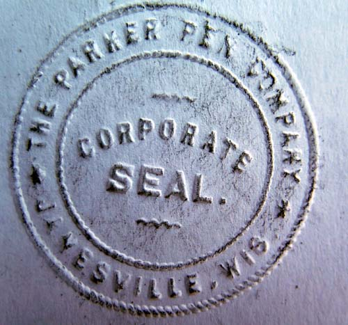 PARKER PEN COMPANY OFFICIAL CORPORATE SEAL PRESS