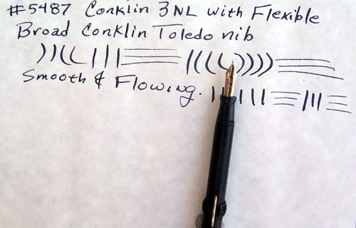 CONKLIN 3NL CRESCENT FILLER WITH INCREDIBLE FLEXIBLE, BROAD, SMOOTH, AND FLOWING TOLEDO NIB