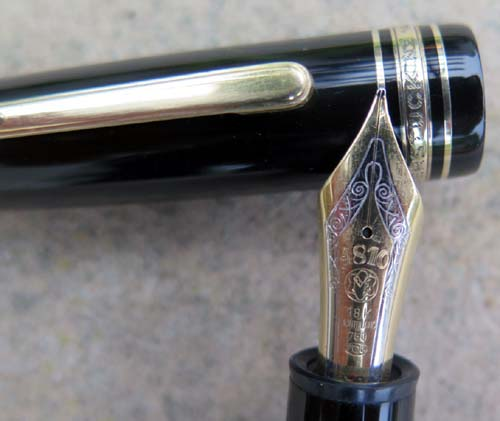 "MONTBLANC 149. Clip ring marked ""GERMANY"". 18K broad two tone nib."