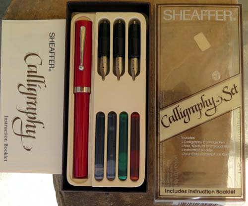 SHEAFFER CALLIGRAPHY SET WITH 3 DIFFERENT SIZED FRONT ENDS