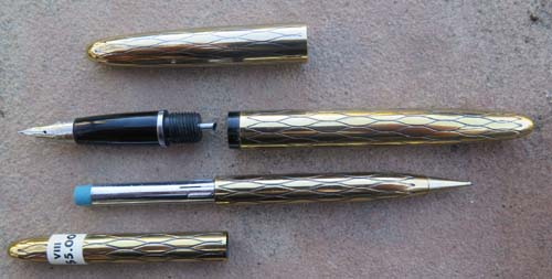 Lady Sheaffer Skripsert VIII Balicon Black on GoldFountain Pen and Pencil set