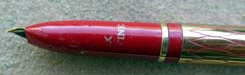 Lady Sheaffer Skripsert IX Balicon Red on Gold Fountain Pen and Pencil Set. With recessed gold nib unit