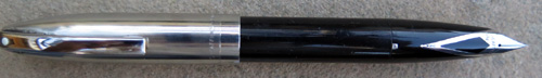 SHEAFFER PFM II IN BLACK WITH STAINLESS CAP AND CHROME PLATED TRIM. NEEDLE POINT PALLADIUM SILVER NIB