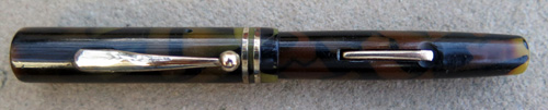 PIC (USED TO BE) PEARL and BLACK FLAT TOP LEVER FILLING FOUNTAIN PEN WITH MEDIUM+ FLEXIBLE NIB