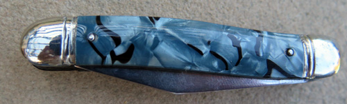 TWO BLADE RICHLANDS SHEFFIELD ENGLAND BLUE PEARL / MARBLE POCKET KNIFE