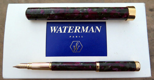 WATERMAN LADY AGATHE GREEN / MAUVE FOUNTAIN PEN IN BOX WITH PAPERS