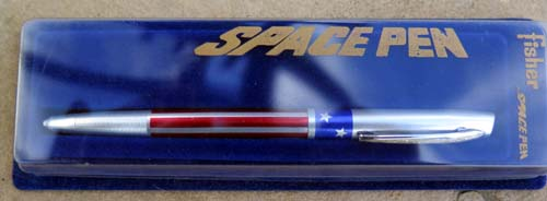 FISHER RED/WHITE and BLUE SPACE PEN WITH PRESSURIZED REFILL. American flag theme.