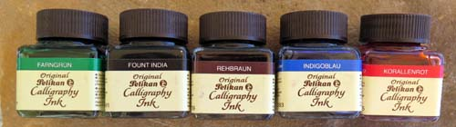 PELIKAN CALLIGRAPHY INK. Available in green, black, brown, blue and red