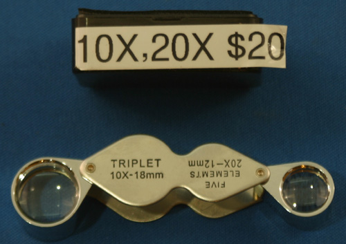 10X + 20X FOLDING METAL POCKET LOUPE