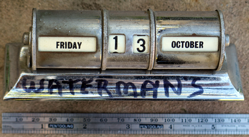R: WATERMAN'S NICKEL PLATED FOUNTAIN PEN DESK BASE CALLENDAR